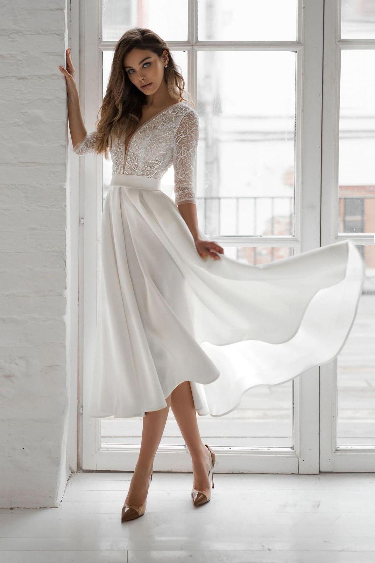Свадебное платье миди с атласной юбкой купить в Москве