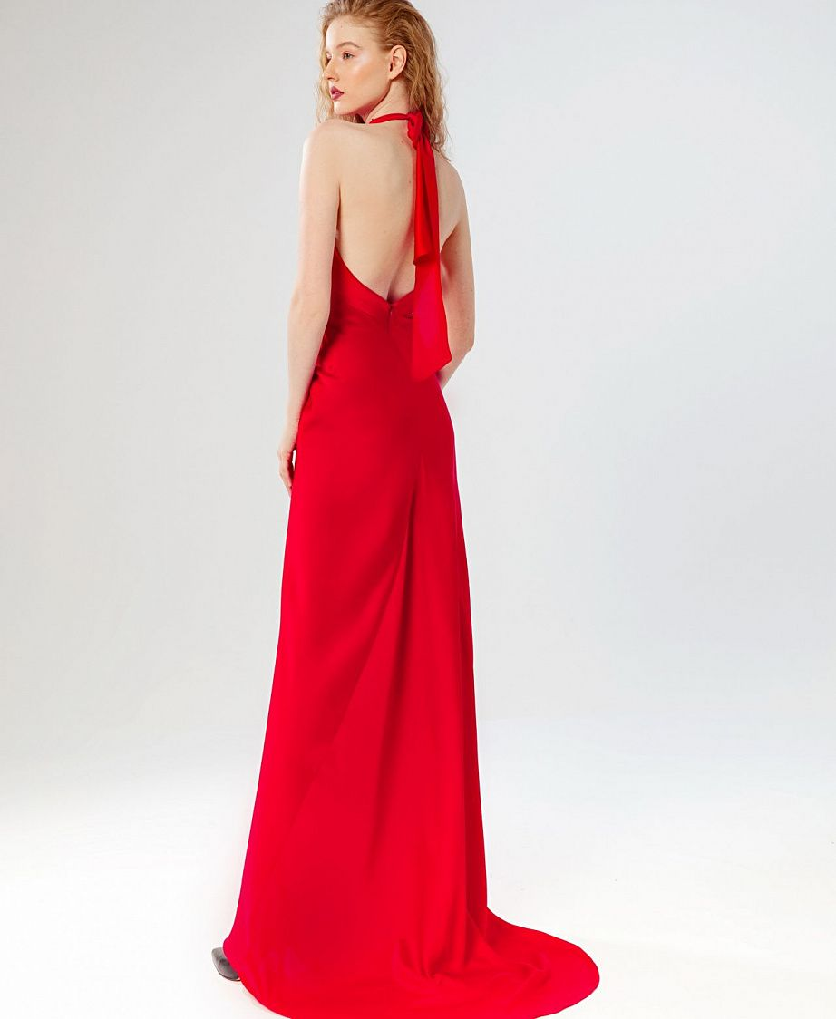 красное платье с открытой спиной купить